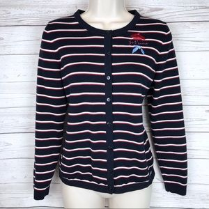 Talbots Embroidered Paris Striped Cardigan